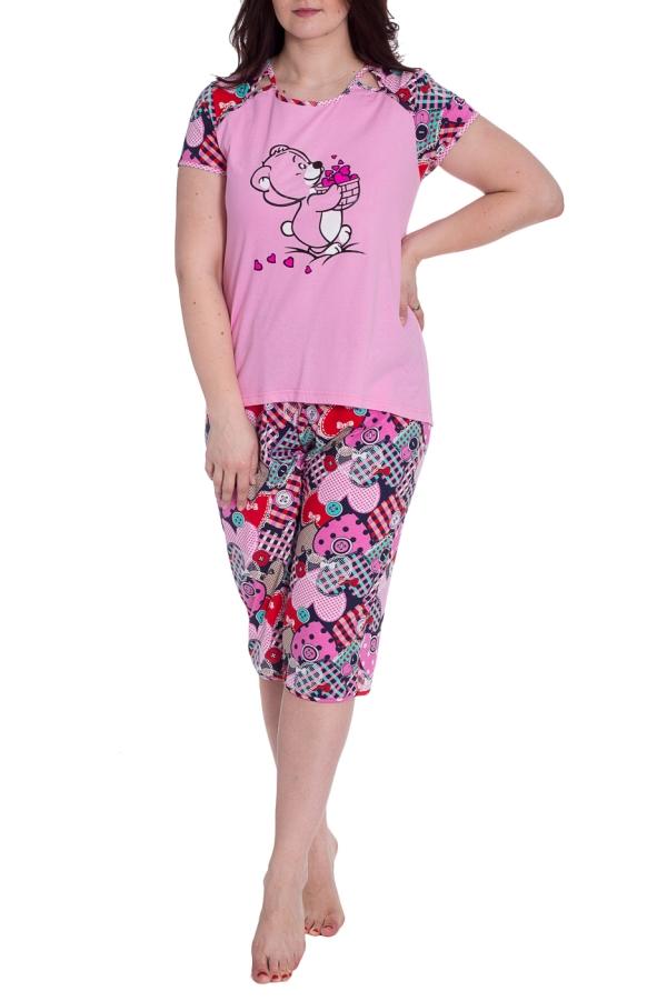 КомплектКомплекты и костюмы<br>Хлопковый комплект состоит из футболки и бридж. Домашняя одежда, прежде всего, должна быть удобной, практичной и красивой. В комплекте Вы будете чувствовать себя комфортно, особенно, по вечерам после трудового дня.  В изделии использованы цвета: розовый и др.  Рост девушки-фотомодели 180 см.<br><br>Горловина: С- горловина<br>По длине: Ниже колена<br>По материалу: Хлопок<br>По рисунку: С принтом,Цветные<br>По сезону: Весна,Зима,Лето,Осень,Всесезон<br>По силуэту: Полуприталенные<br>По форме: Брючный костюм,Костюм двойка<br>Рукав: Короткий рукав<br>Размер : 50<br>Материал: Хлопок<br>Количество в наличии: 1