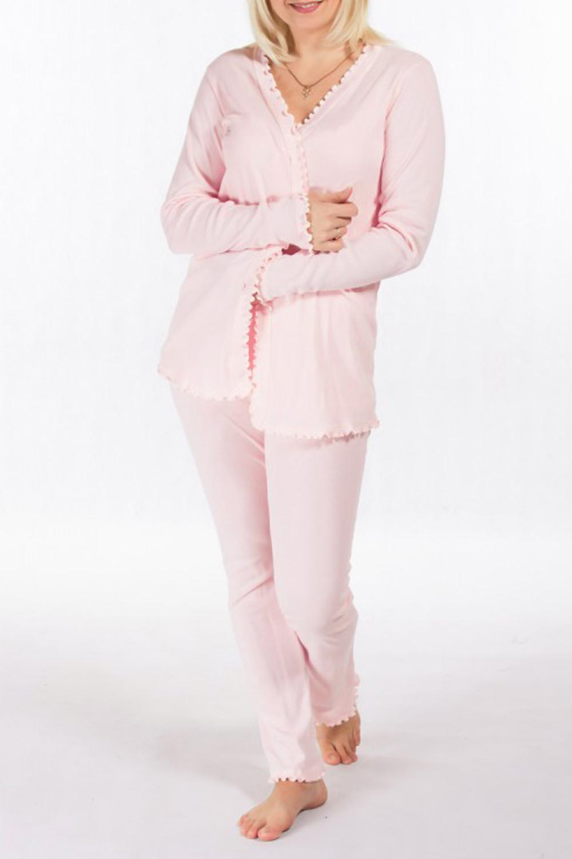 КомплектКомплекты и костюмы<br>Комплект состоит из майки, кардигана и брюк. Майка на тонких бретелях, длиной до линии бёдер. Кардиган с длинными рукавами. Брюки длинные, прямого силуэта. Низ обработан воланами.  Цвет: розовый  Ростовка изделия 170 см<br><br>Горловина: V- горловина,Запах<br>По рисунку: Однотонные<br>По сезону: Весна,Осень<br>По силуэту: Полуприталенные<br>По форме: Костюм двойка,Брючный костюм<br>Рукав: Длинный рукав<br>По длине: Ниже колена<br>По материалу: Трикотаж,Хлопок<br>Размер : 44<br>Материал: Трикотаж<br>Количество в наличии: 1