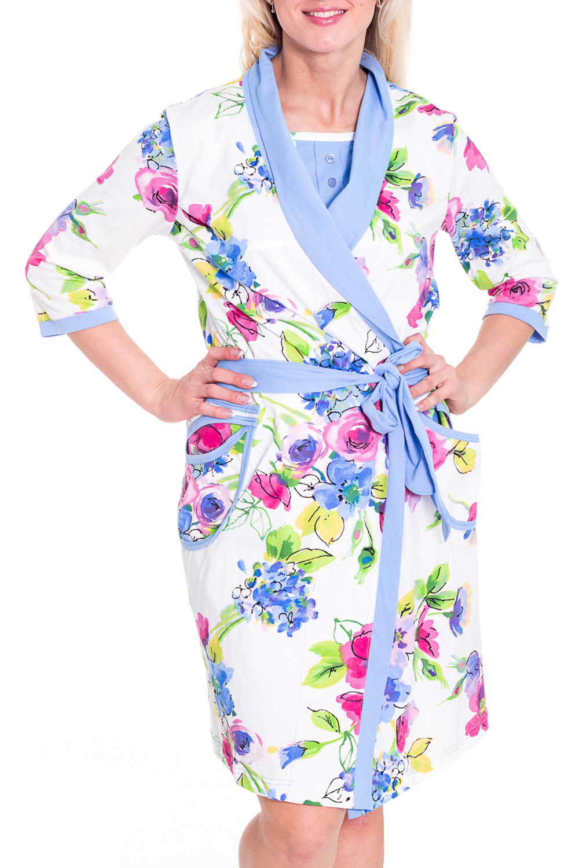 КомплектКомплекты и костюмы<br>Комплект состоит из сорочки и халатика. Домашняя одежда, прежде всего, должна быть удобной, практичной и красивой. В комплекте Вы будете чувствовать себя комфортно, особенно, по вечерам после трудового дня. Пояс в комплект не входит   Цвет: белый, голубой, розовый, зеленый  Рост девушки-фотомодели 180 см.<br><br>По рисунку: Растительные мотивы,Цветные,Цветочные<br>По сезону: Весна,Осень<br>По силуэту: Полуприталенные<br>По форме: Юбочные<br>Рукав: Рукав три четверти<br>По длине: Ниже колена<br>По материалу: Хлопок<br>Размер : 46<br>Материал: Хлопок<br>Количество в наличии: 1