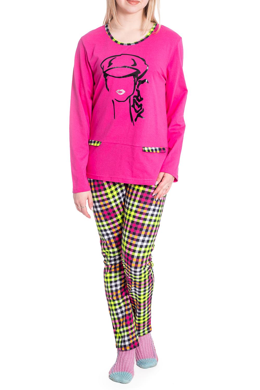 КомплектКомплекты и костюмы<br>Хлопковый комплект состоит из джемпера и брюк. Домашняя одежда, прежде всего, должна быть удобной, практичной и красивой. В комплекте Вы будете чувствовать себя комфортно, особенно, по вечерам после трудового дня.  В изделии использованы цвета: розовый, желтый и др.  Рост девушки-фотомодели 170 см.<br><br>Горловина: С- горловина<br>По длине: Макси<br>По материалу: Хлопок<br>По рисунку: В клетку,С принтом,Цветные<br>По сезону: Весна,Зима,Лето,Осень,Всесезон<br>По силуэту: Приталенные<br>По форме: Брючный костюм,Костюм двойка<br>Рукав: Длинный рукав<br>Размер : 46<br>Материал: Хлопок<br>Количество в наличии: 1