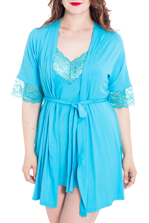 ПеньюарКомплекты и костюмы<br>Пеньюар состоит из ночной сорочки и халата. Сорочка прилегающего силуэта, длиной выше колена. Горловина и проймы окантованы. Халат на запах, прилегающего силуэта, длиной чуть выше колена. Рукав втачной, длинный. Срезы борта, низ рукава обработаны эластичным кружевом.   Цвет: голубой  Рост девушки-фотомодели 180 см<br><br>Горловина: Запах<br>По материалу: Вязаные<br>По рисунку: Однотонные<br>По сезону: Всесезон<br>Рукав: Рукав три четверти<br>Размер : 50<br>Материал: Вискоза<br>Количество в наличии: 1