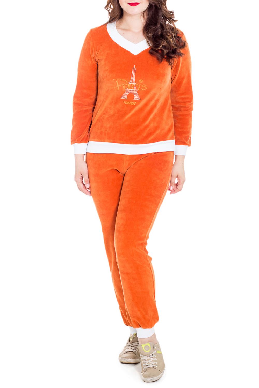 КостюмКомплекты и костюмы<br>Велюровый костюм из двух предметов (кофта+брюки)  Костюм из велюра - идеальный вариант для прогулок и пикников, в дороге, для спортивных занятий, а также для дома.  Цвет: оранжевый, белый  Рост девушки-фотомодели - 180 см<br><br>Горловина: V- горловина<br>По рисунку: Однотонные,С принтом<br>По сезону: Весна,Зима,Лето,Осень,Всесезон<br>По силуэту: Полуприталенные<br>По форме: Брючные<br>Рукав: Длинный рукав<br>По материалу: Велюр<br>Размер : 48<br>Материал: Велюр<br>Количество в наличии: 1