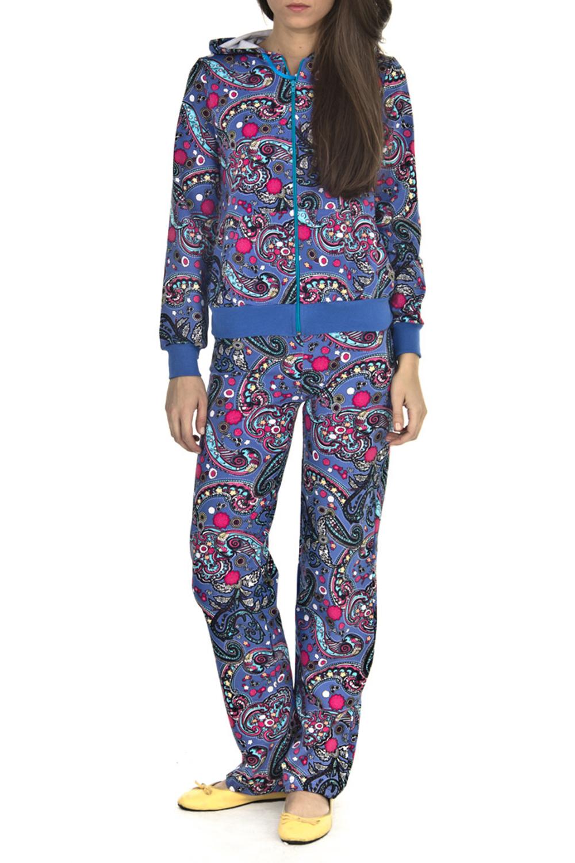 КостюмКомплекты и костюмы<br>Женский костюм с длинными рукавами. Костюм состоит из кофты и брюк. Домашняя одежда, прежде всего, должна быть удобной, практичной и красивой. В костюме Вы будете чувствовать себя комфортно, особенно, по вечерам после трудового дня.  Цвет: синий, розовый<br><br>По длине: Макси<br>По рисунку: Цветные,Этнические,С принтом<br>По силуэту: Полуприталенные<br>По форме: Брючные,Костюм двойка<br>По элементам: С карманами,С молнией<br>Рукав: Длинный рукав<br>По сезону: Зима<br>По материалу: Трикотаж,Хлопок<br>Размер : 50,52,60<br>Материал: Трикотаж<br>Количество в наличии: 3
