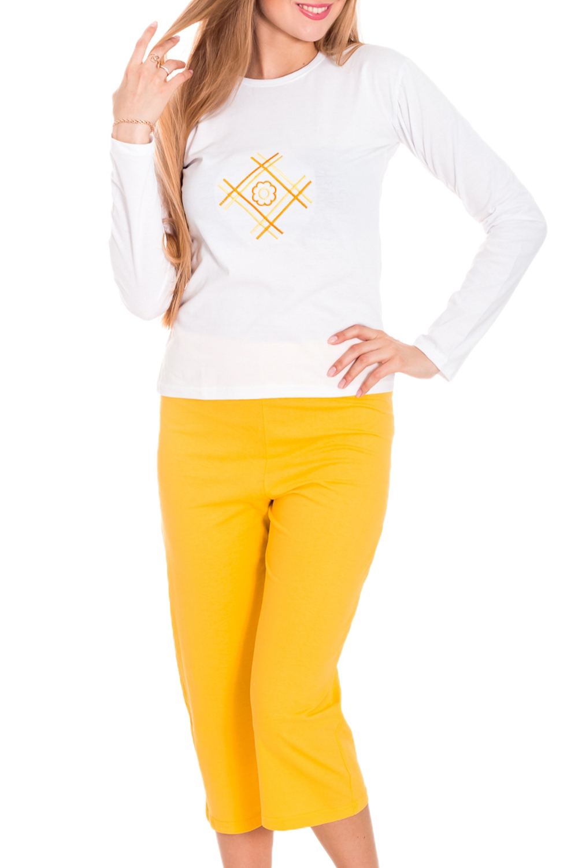 ПижамаПижамы<br>Удобная хлопковая пижама. Домашняя одежда, прежде всего, должна быть удобной, практичной и красивой. В пижаме Вы будете чувствовать себя комфортно, особенно, по вечерам после трудового дня.  Цвет: белый, желтый  Рост девушки-фотомодели 170 см<br><br>По рисунку: С принтом (печатью),Цветные<br>По сезону: Зима,Весна,Лето,Осень,Всесезон<br>По силуэту: Полуприталенные<br>По стилю: Повседневные<br>По форме: Брючные,Костюм двойка<br>Рукав: Длинный рукав<br>Горловина: С- горловина<br>По материалу: Хлопковые<br>Размер : 38-40,42-44,46-48<br>Материал: Хлопок<br>Количество в наличии: 7