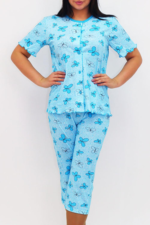 ПижамаПижамы<br>Мягкая хлопковая пижама. Домашняя одежда, прежде всего, должна быть удобной, практичной и красивой. В нашей домашней одежде Вы будете чувствовать себя комфортно, особенно, по вечерам после трудового дня.  В изделии использованы цвета: голубой, синий и др.  Ростовка изделия 170 см.<br><br>Горловина: С- горловина<br>По рисунку: Бабочки,Цветные,С принтом<br>По сезону: Весна,Зима,Лето,Осень,Всесезон<br>По силуэту: Приталенные<br>По форме: Брючные,Костюм двойка<br>Рукав: Короткий рукав<br>По длине: Ниже колена<br>По материалу: Трикотаж,Хлопок<br>Размер : 50,56<br>Материал: Хлопок<br>Количество в наличии: 2
