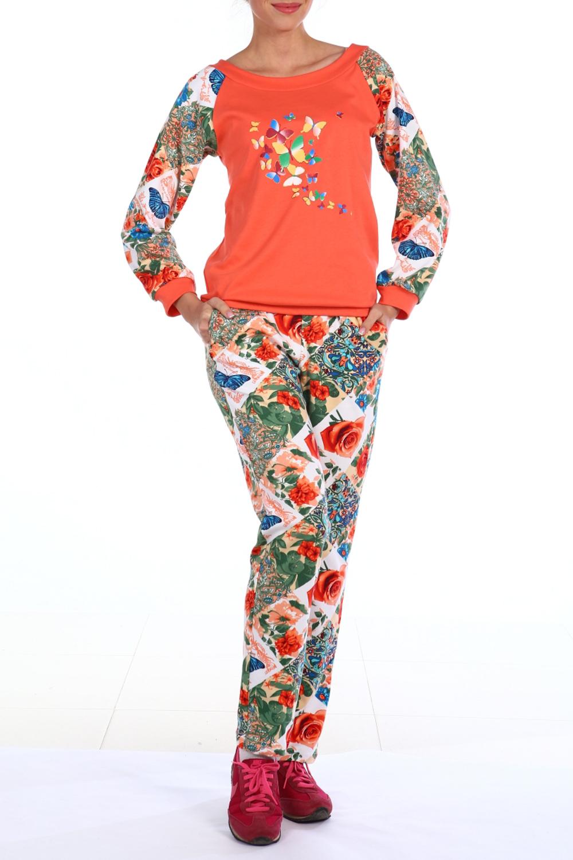 КостюмКомплекты и костюмы<br>Хлопковый костюм состоит из джемпера и брюк. Домашняя одежда, прежде всего, должна быть удобной, практичной и красивой. В костюме Вы будете чувствовать себя комфортно, особенно, по вечерам после трудового дня.  В изделии использованы цвета: оранжевый и др.  Ростовка изделия 170 см.<br><br>Горловина: Лодочка<br>По длине: Макси<br>По материалу: Трикотаж,Хлопок<br>По рисунку: Растительные мотивы,С принтом,Цветные,Цветочные<br>По сезону: Весна,Зима,Лето,Осень,Всесезон<br>По силуэту: Полуприталенные<br>По форме: Брючные,Костюм двойка<br>По элементам: С карманами,С манжетами<br>Рукав: Длинный рукав<br>Размер : 44,46,48,50,52,54,56,58<br>Материал: Хлопок<br>Количество в наличии: 11
