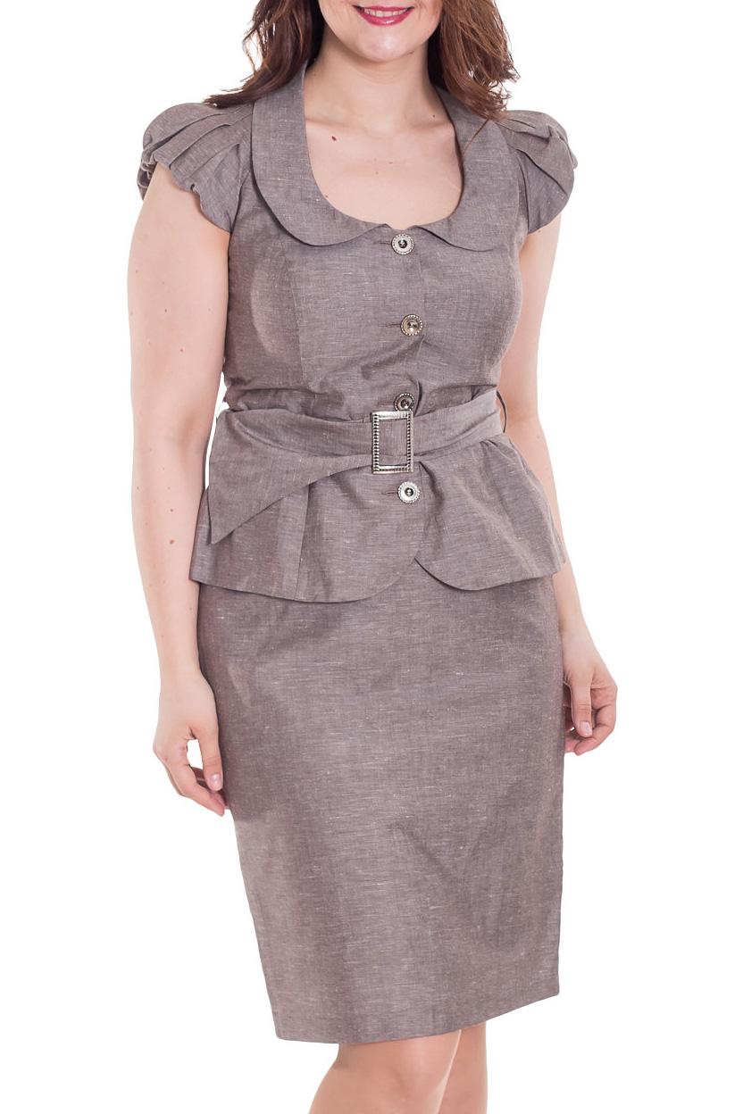 КостюмКостюмы<br>Великолепный костюм из льняной ткани. Костюм состоит из жакета и юбки. Отличный выбор для повседневного и делового гардероба.  Цвет: коричневый  Рост девушки-фотомодели 180 см<br><br>Воротник: Отложной<br>Горловина: С- горловина<br>Застежка: С пуговицами<br>По длине: До колена<br>По материалу: Лен<br>По образу: Город,Офис<br>По рисунку: Однотонные,Цветные<br>По силуэту: Приталенные<br>По стилю: Офисный стиль,Повседневный стиль<br>По форме: Костюм двойка,Юбочные<br>По элементам: С разрезом<br>Разрез: Шлица<br>Рукав: Короткий рукав<br>По сезону: Лето<br>Размер : 48,50,52,54,56<br>Материал: Лен<br>Количество в наличии: 3