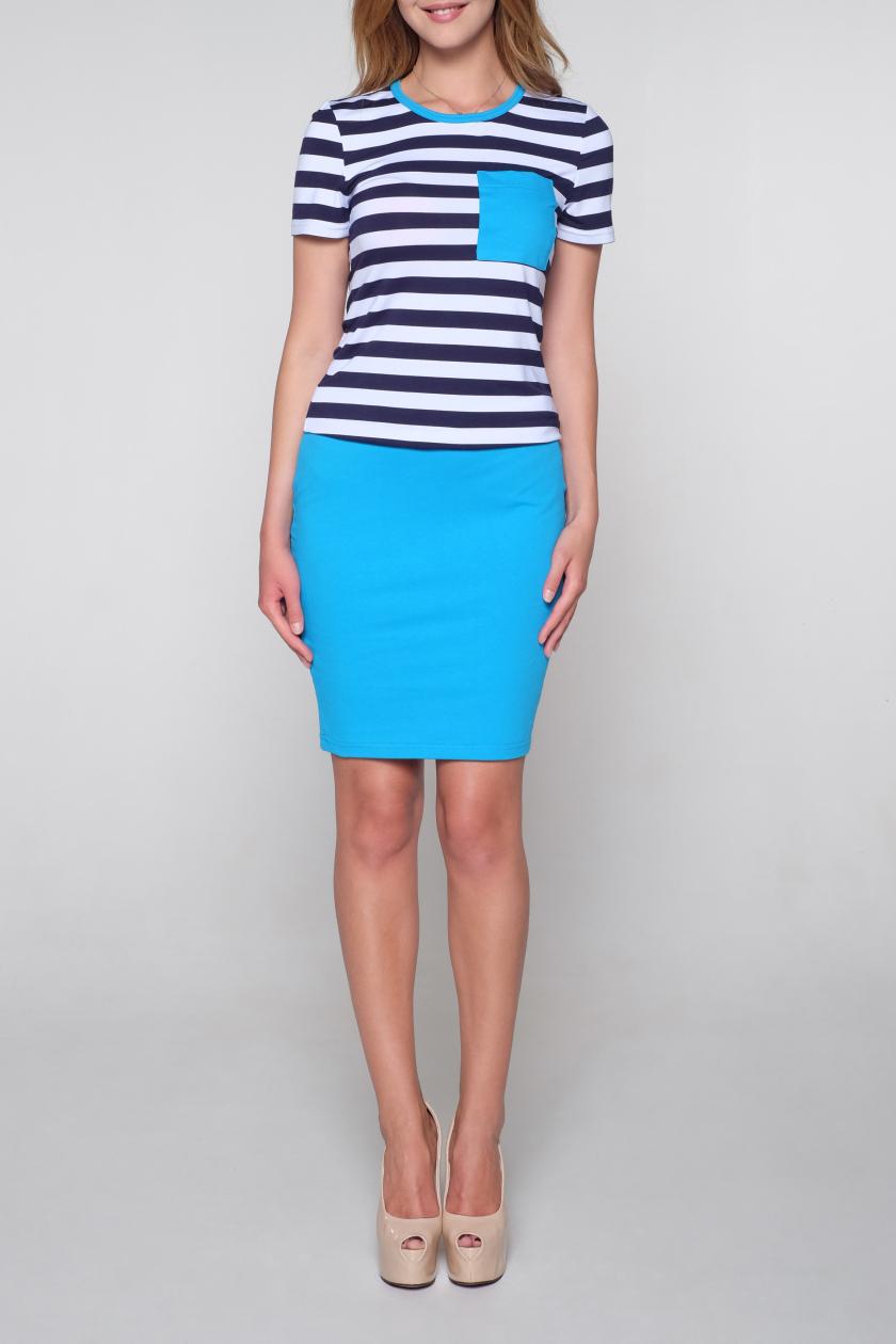 КостюмКостюмы<br>Универсальный костюм состоит из блузки и юбки. Модель выполнена из мягкой вискозы. Отличный выбор для повседневного гардероба.   В изделии использованы цвета: голубой, белый, синий  Ростовка изделия 170 см<br><br>Горловина: С- горловина<br>По длине: До колена<br>По материалу: Вискоза<br>По рисунку: В полоску,С принтом,Цветные<br>По силуэту: Приталенные<br>По стилю: Повседневный стиль<br>По форме: Костюм двойка,Юбочные<br>Рукав: Короткий рукав<br>По сезону: Лето<br>Размер : 42,44,48<br>Материал: Вискоза<br>Количество в наличии: 6