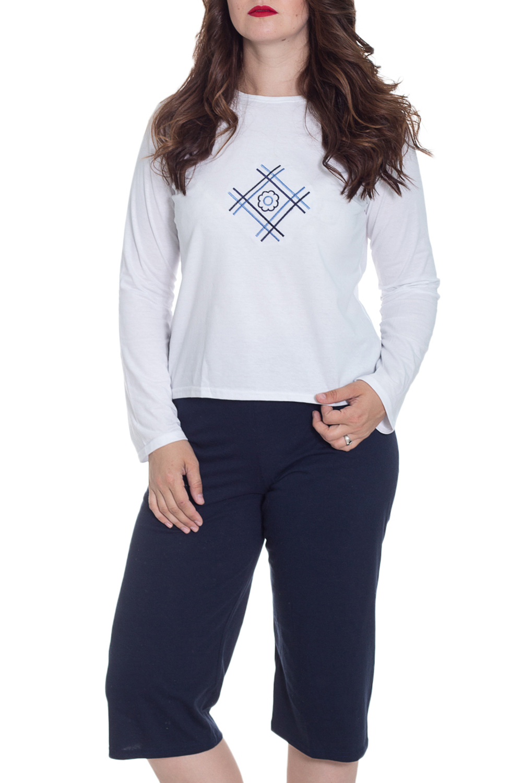 ПижамаПижамы<br>Хлопковая пижама состоит из джемпера и бридж. Домашняя одежда, прежде всего, должна быть удобной, практичной и красивой. В наших изделиях Вы будете чувствовать себя комфортно, особенно, по вечерам после трудового дня.  Цвет: белый, синий  Рост девушки-фотомодели 180 см<br><br>Горловина: С- горловина<br>По рисунку: Цветные,С принтом<br>По сезону: Весна,Зима,Лето,Осень,Всесезон<br>По силуэту: Приталенные<br>По форме: Брючные,Костюм двойка<br>Рукав: Длинный рукав<br>По длине: Ниже колена<br>По материалу: Трикотаж,Хлопок<br>Размер : 46-48,52-54<br>Материал: Хлопок<br>Количество в наличии: 4