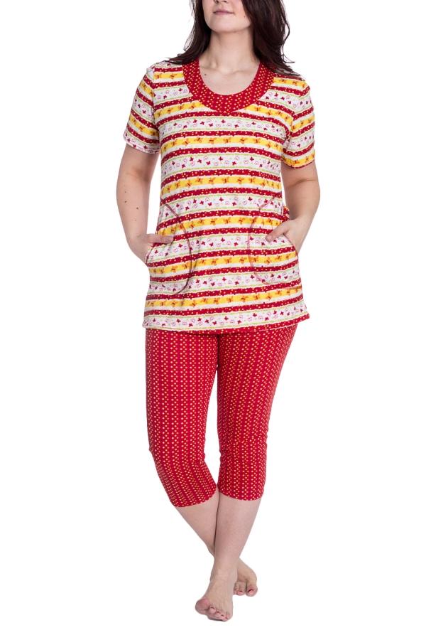 КомплектКомплекты и костюмы<br>Хлопковый комплект, состоящий из туники и бридж. Домашняя одежда, прежде всего, должна быть удобной, практичной и красивой. В нашей одежде Вы будете чувствовать себя комфортно, особенно, по вечерам после трудового дня.  В изделии использованы цвета: белый, красный, желтый  Рост девушки-фотомодели 180 см.<br><br>Горловина: С- горловина<br>По длине: Ниже колена<br>По материалу: Трикотаж,Хлопок<br>По рисунку: С принтом,Цветные<br>По сезону: Весна,Зима,Лето,Осень,Всесезон<br>По силуэту: Приталенные<br>По форме: Брючный костюм,Костюм двойка<br>По элементам: С карманами<br>Рукав: Короткий рукав<br>Размер : 50,52,54,58<br>Материал: Трикотаж<br>Количество в наличии: 4