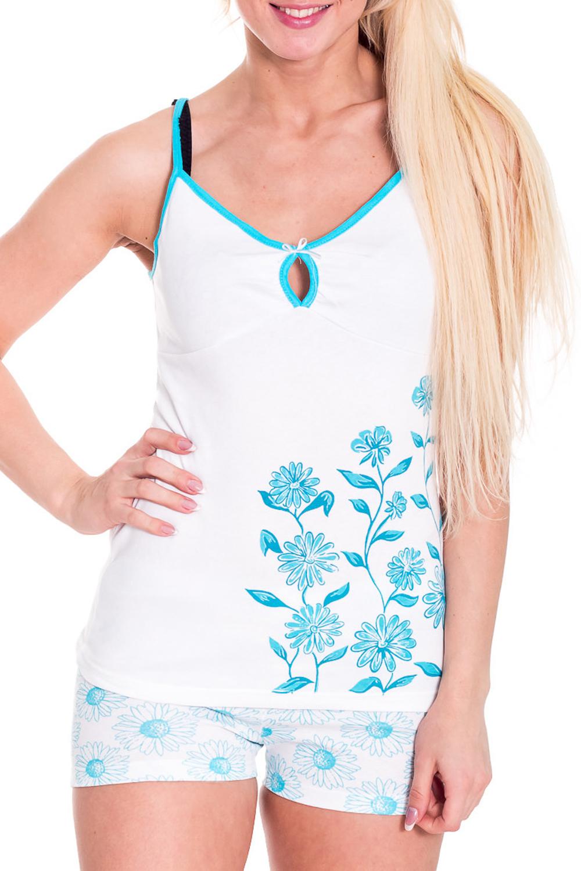 ПижамаПижамы<br>Хлопковая пижама состоит из майки и шорт. Домашняя одежда, прежде всего, должна быть удобной, практичной и красивой. В пижаме Вы будете чувствовать себя комфортно, особенно, по вечерам после трудового дня.  Цвет: белый, голубой  Рост девушки-фотомодели 170 см<br><br>Бретели: Тонкие бретели<br>Горловина: С- горловина<br>По рисунку: Растительные мотивы,Цветные,Цветочные,С принтом<br>По сезону: Лето<br>По форме: Брючные,Костюм двойка<br>По элементам: С декором<br>По длине: До колена<br>Рукав: Без рукавов<br>По материалу: Трикотаж,Хлопок<br>Размер : 46<br>Материал: Трикотаж<br>Количество в наличии: 1