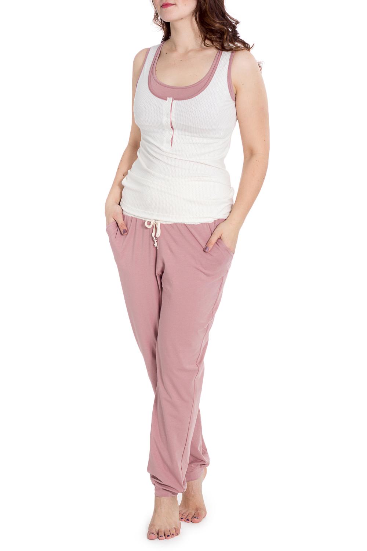 ПижамаОдежда для дома<br>Трикотажная пижама состоит из майки и брюк. Пижама подойдет как для сна в холодный сезон, так и в качестве комфортного комплекта для дома.  В изделии использованы цвета: бежевый, белый  Рост девушки-фотомодели 180 см.<br><br>Горловина: С- горловина<br>По материалу: Трикотаж<br>По рисунку: Цветные<br>По силуэту: Приталенные<br>По элементам: С декором<br>Рукав: Без рукавов<br>По сезону: Всесезон<br>Размер : 48<br>Материал: Трикотаж<br>Количество в наличии: 1