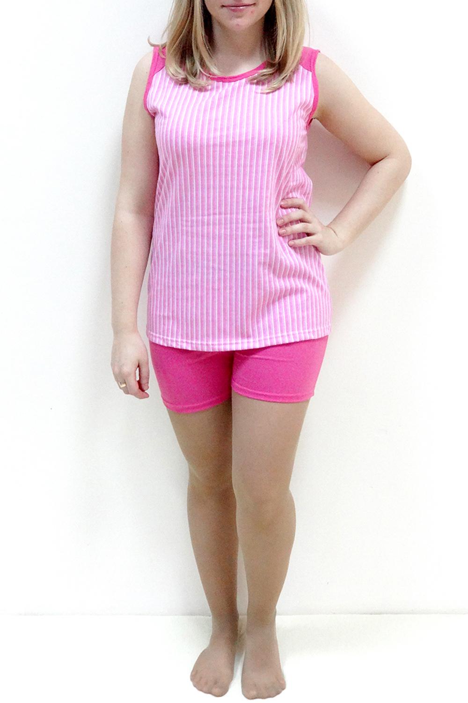 КомплектКомплекты и костюмы<br>Женский комплект состоит из шортиков и майки. Домашняя одежда, прежде всего, должна быть удобной, практичной и красивой. В комплекте Вы будете чувствовать себя комфортно, особенно, по вечерам после трудового дня.  Цвет: розовый, белый<br><br>По стилю: Повседневные,Возрастные,Летние,Молодежные<br>По материалу: Хлопковые<br>По размеру: Большие размеры,Маленькие размеры<br>По рисунку: В полоску,Цветные<br>По сезону: Лето<br>По силуэту: Полуприталенные<br>По элементам: Без рукавов<br>По форме: Брючные,Костюм двойка<br>По длине: Мини<br>Горловина: С- горловина<br>Бретели: Широкие бретели<br>Размер: 44,46,48,50,52,54,56<br>Материал: None<br>Количество в наличии: 10