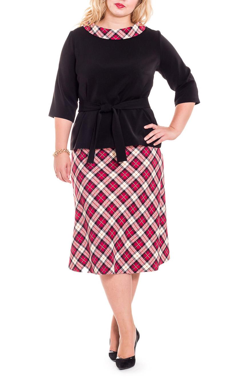 КостюмКостюмы<br>Великолепный женский костюм (блузка + юбка), выполненный из качественной костюмной ткани, станет идеальным вариантом повседневного или выходного наряда. Изумительно садясь по фигуре, этот кастюм маскирует ее проблемные зоны.  Блузка прямого силуэта со съемным поясом. На спинке средний шов. Воротник стояче-отложной. Рукав втачной, 3/4. Юбка трапеция с обтачкой по верхнему срезу. На спинке средний шов с молнией.  В изделии использованы цвета: черный, красный и др.  Длина рукава - 41 ± 1 см  Рост девушки-фотомодели 178 см  Длина блузки - 59 ± 2 см Длина юбки - 72 ± 2 см<br><br>Воротник: Стояче-отложной<br>Застежка: С молнией<br>По длине: Ниже колена<br>По материалу: Костюмные ткани,Тканевые<br>По рисунку: Цветные,В клетку<br>По силуэту: Прямые<br>По стилю: Классический стиль,Кэжуал,Офисный стиль,Повседневный стиль<br>По форме: Костюм двойка,Юбочные<br>По элементам: С воротником,С декором,С поясом<br>Рукав: Рукав три четверти<br>По сезону: Осень,Весна<br>Размер : 56,58,60,62,64,66<br>Материал: Костюмная ткань<br>Количество в наличии: 31