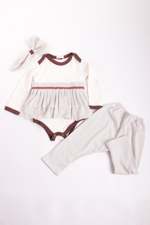 КомплектКомплекты<br>Мягкий комплект для девочки  Цвет: белый, коричневый  Размер соответствует росту ребенка.<br><br>По сезону: Всесезон<br>Размер : 68,74,86<br>Материал: Трикотаж<br>Количество в наличии: 5