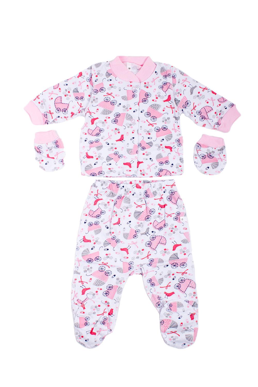 КомплектКомплекты<br>Хлопковый комплект для новорожденного.  В изделии использованы цвета: розовый, белый.  Размер соответствует росту ребенка.<br><br>По сезону: Всесезон<br>Размер : 56<br>Материал: Хлопок<br>Количество в наличии: 1
