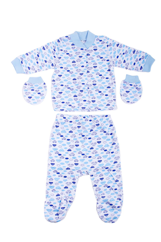 КомплектКомплекты<br>Хлопковый комплект для новорожденного.  В изделии использованы цвета: голубой, синий и др.  Размер соответствует росту ребенка.<br><br>По сезону: Всесезон<br>Размер : 62<br>Материал: Хлопок<br>Количество в наличии: 1