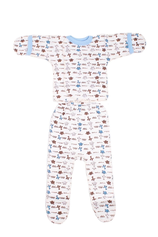 КомплектКомплекты<br>Хлопковый комплект для новорожденного.  В изделии использованы цвета: белый, коричневый, голубой.  Размер соответствует росту ребенка.<br><br>По сезону: Всесезон<br>Размер : 50<br>Материал: Хлопок<br>Количество в наличии: 1