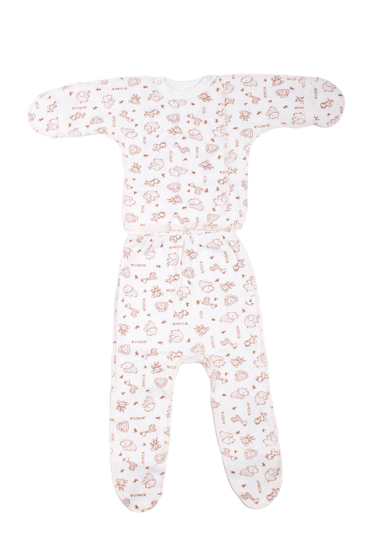 КомплектКомплекты<br>Хлопковый комплект для новорожденного.  В изделии использованы цвета: белый, коричневый  Размер соответствует росту ребенка.<br><br>По сезону: Всесезон<br>Размер : 56<br>Материал: Хлопок<br>Количество в наличии: 1