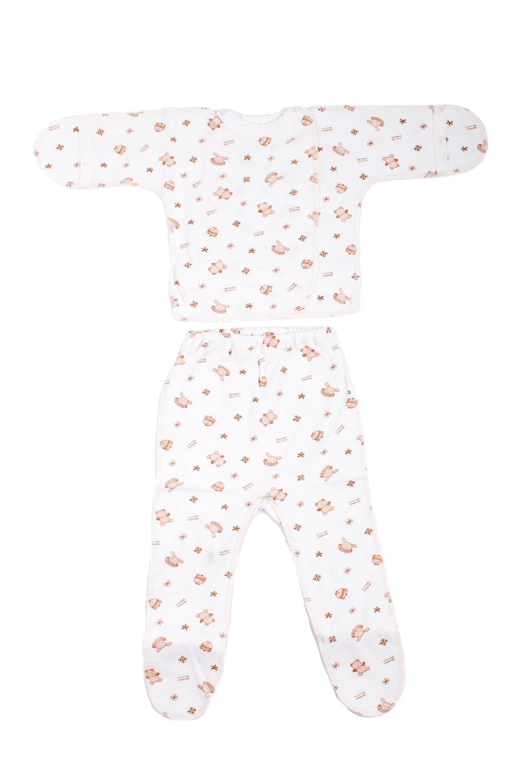 КомплектКомплекты<br>Хлопковый комплект для новорожденного.  В изделии использованы цвета: белый, коричневый.  Размер соответствует росту ребенка.<br><br>По сезону: Всесезон<br>Размер : 62<br>Материал: Хлопок<br>Количество в наличии: 1