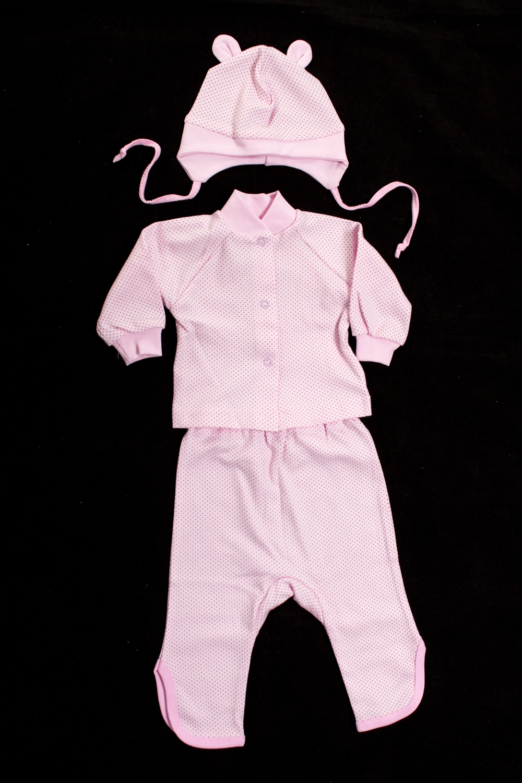 КомплектКомплекты<br>Хлопковый комплект для девочки состоит из ползунков, кофточки и шапочки  Цвет: розовый  Размер соответствует росту ребенка<br><br>По сезону: Всесезон<br>Размер : 62,74<br>Материал: Хлопок<br>Количество в наличии: 3