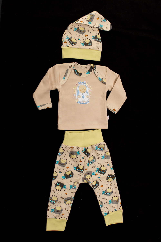 КомплектКостюмы<br>Хлопковый комплект для ребенка  Цвет: бежевый, желтый и др.  Размер соответствует росту ребенка<br><br>Горловина: С- горловина<br>По длине: Миди<br>По материалу: Трикотажные,Хлопковые<br>По образу: Повседневные<br>По рисунку: С принтом (печатью),Цветные<br>По силуэту: Полуприталенные<br>По стилю: Повседневные<br>По форме: Брючные,Костюм двойка<br>Рукав: Длинный рукав<br>По сезону: Осень,Весна<br>По возрасту: Ясельные ( от 1 до 3 лет)<br>Размер : 62,68,74,80<br>Материал: Хлопок<br>Количество в наличии: 4