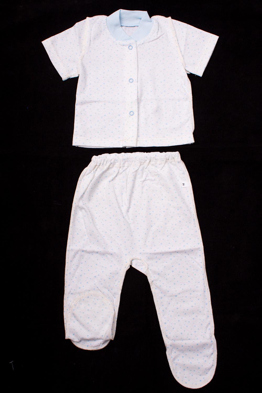 КомплектКомплекты<br>Хлопковый комплект для новорожденного.  В изделии использованы цвета: белый, голубой  Размер соответствует росту ребенка.<br><br>По сезону: Всесезон<br>Размер : 62<br>Материал: Хлопок<br>Количество в наличии: 1