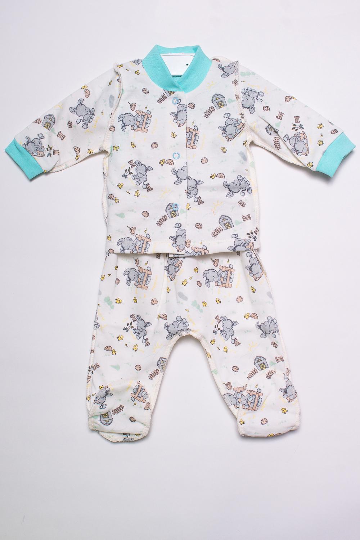 КомплектКомплекты<br>Хлопковый комплект для новорожденного.  В изделии использованы цвета: белый, серый, бирюзовый и др.  Размер соответствует росту ребенка.<br><br>По сезону: Всесезон<br>Размер : 56,62<br>Материал: Хлопок<br>Количество в наличии: 2