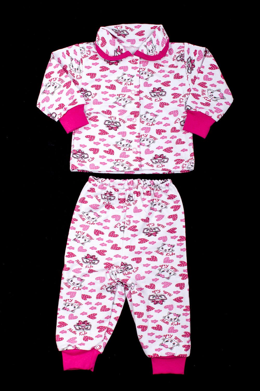 КомплектКостюмы<br>Трикотажный комплект для девочки  В изделии использованы цвета: белый, розовый и др.  Размер соответствует росту ребенка.<br><br>Воротник: Отложной<br>По возрасту: Ясельные ( от 1 до 3 лет)<br>По материалу: Хлопковые<br>По образу: Повседневные<br>По рисунку: С принтом (печатью),Цветные<br>По сезону: Зима,Осень,Весна<br>По силуэту: Полуприталенные<br>Рукав: Длинный рукав,С манжетой<br>Размер : 62,68,86<br>Материал: Хлопок<br>Количество в наличии: 4