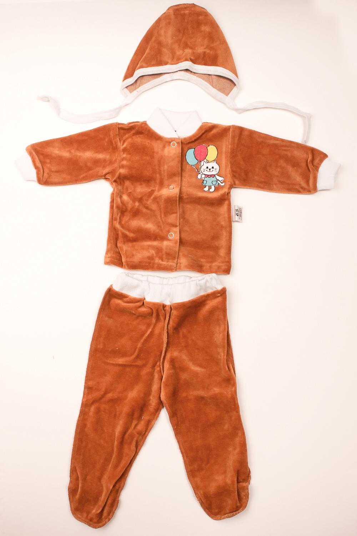 КостюмКомплекты<br>Мягкий костюм для новорожденного. В костюм входит кофточка, ползунки и чепчик  В изделии использованы цвета: коричневый и др.  Размер соответствует росту ребенка<br><br>По сезону: Осень,Весна<br>Размер : 62<br>Материал: Велюр<br>Количество в наличии: 1