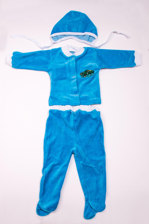 КостюмКомплекты<br>Мягкий костюм для новорожденного. В костюм входит кофточка, ползунки и чепчик  В изделии использованы цвета: голубой и др.  Размер соответствует росту ребенка<br><br>По сезону: Осень,Весна<br>Размер : 74<br>Материал: Велюр<br>Количество в наличии: 1