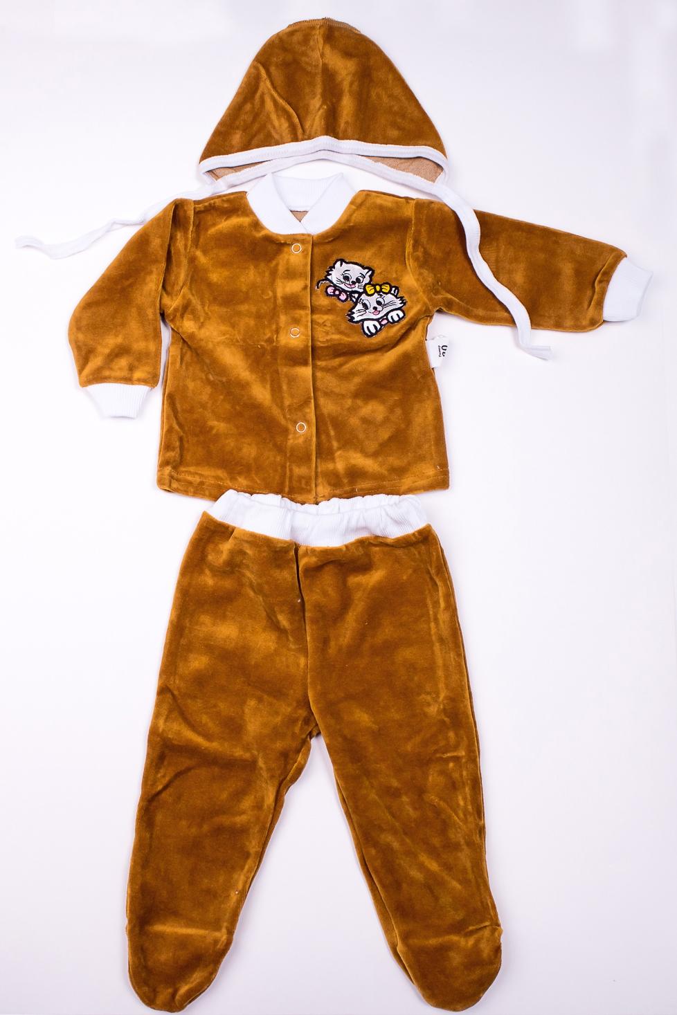 КостюмКомплекты<br>Мягкий костюм для новорожденного. В костюм входит кофточка, ползунки и чепчик  В изделии использованы цвета: коричневый и др.  Размер соответствует росту ребенка<br><br>По сезону: Осень,Весна<br>Размер : 80<br>Материал: Велюр<br>Количество в наличии: 1