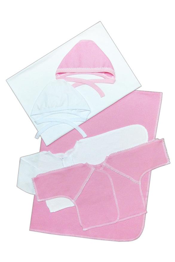 КомплектКомплекты<br>Чудесный хлопковый комплект для новорожденных. В комплекте: 2 чепчика на р.56 2 распашонки на р.56 2 пеленки р. 80*110  Цвет: розовый, белый  Размер соответствует росту ребенка<br><br>Размер : UNI<br>Материал: Хлопок<br>Количество в наличии: 1