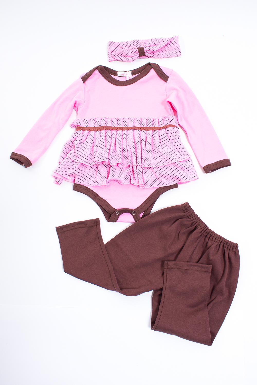 КомплектКомплекты<br>Мягкий комплект для девочки  Цвет: розовый, коричневый  Размер соответствует росту ребенка.<br><br>По сезону: Всесезон<br>Размер : 68<br>Материал: Трикотаж<br>Количество в наличии: 2