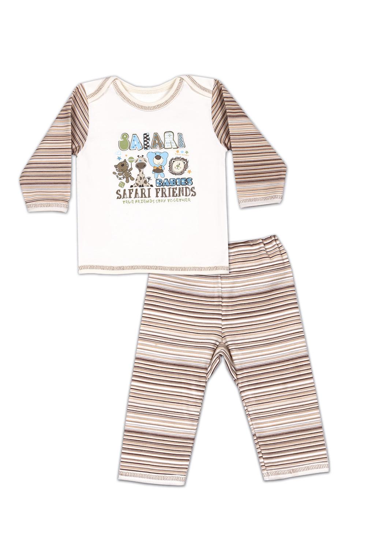 НаборКостюмы<br>Хлопковый комплект состоит из джемпера и брюк  В изделии использованы цвета: молочный, бежевый и др.   Размер соответствует росту ребенка<br><br>Горловина: С- горловина<br>По возрасту: Ясельные ( от 1 до 3 лет)<br>По длине: Миди<br>По материалу: Трикотажные,Хлопковые<br>По образу: Повседневные<br>По рисунку: В полоску,С принтом (печатью),Цветные<br>По сезону: Лето,Осень,Весна<br>По силуэту: Полуприталенные<br>По стилю: Повседневные<br>По форме: Брючные,Костюм двойка<br>Рукав: Длинный рукав<br>Размер : 62,68,74,80<br>Материал: Трикотаж<br>Количество в наличии: 4