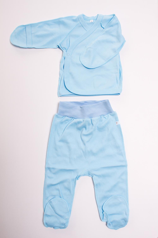 КомплектКомплекты<br>Хлопковый комплект для новорожденного  Цвет: голубой  Размер соответствует росту ребенка<br><br>По сезону: Всесезон<br>Размер : 50<br>Материал: Хлопок<br>Количество в наличии: 1