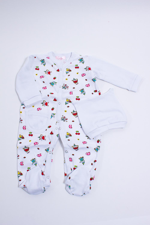 КомплектКомбинезончики<br>Мягкий комплект для ребенка  Цвет: белый, мультицвет  Размер соответствует росту ребенка.<br><br>По сезону: Осень,Весна<br>Размер : 74<br>Материал: Трикотаж<br>Количество в наличии: 1