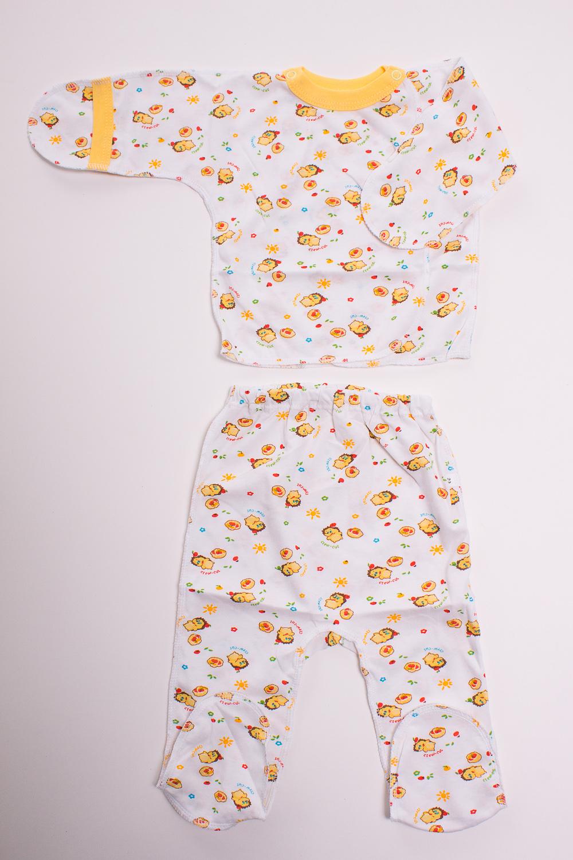 КомплектКомплекты<br>Хлопковый комплект для новорожденного  Цвет: белый, желтый  Размер соответствует росту ребенка<br><br>По сезону: Всесезон<br>Размер : 52<br>Материал: Хлопок<br>Количество в наличии: 1