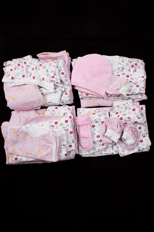 КомплектКомплекты<br>Хлопковый комплект для новорожденного. В комплект входит: Пеленка - 6шт Ползунки - 1шт Рукавички - 1шт  Чепчик - 5шт  Пинетки - 2шт  Распашонка -1шт Кофточка - 11шт Ползунки - 11шт Полукомбинезон - 1шт  Комбинезон - 4шт.  В изделии использованы цвета: розовый, белый.  Размер соответствует росту ребенка<br><br>По сезону: Всесезон<br>Размер : 56<br>Материал: Хлопок<br>Количество в наличии: 1