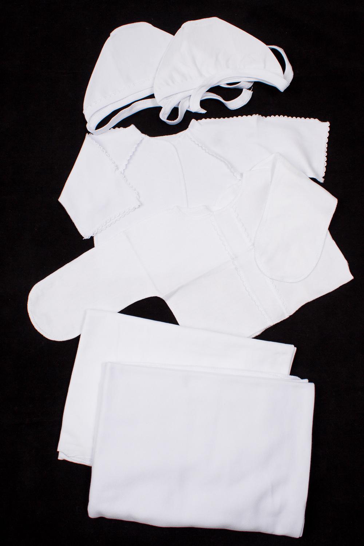 КомплектКомплекты<br>Хлопковый комплект для новорожденного. В комплект входит: Чепчик - 2 шт.  Распашонка - 2 шт. Пеленка - 2 шт.  В изделии использованы цвета: белый  Размер соответствует росту ребенка<br><br>По сезону: Всесезон<br>Размер : 56<br>Материал: Хлопок<br>Количество в наличии: 1