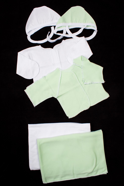 КомплектКомплекты<br>Хлопковый комплект для новорожденного. В комплект входит: Чепчик - 2 шт.  Распашонка - 2 шт. Пеленка - 2 шт.  В изделии использованы цвета: белый, зеленый.  Размер соответствует росту ребенка<br><br>По сезону: Всесезон<br>Размер : 56<br>Материал: Хлопок<br>Количество в наличии: 2