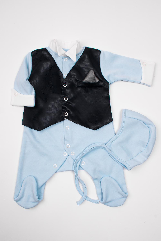 КомплектКомплекты<br>Нарядный комплект для новорожденного  Цвет: голубой, белый, черный  Размер соответствует росту ребенка<br><br>Размер : 56,62<br>Материал: Трикотаж<br>Количество в наличии: 2