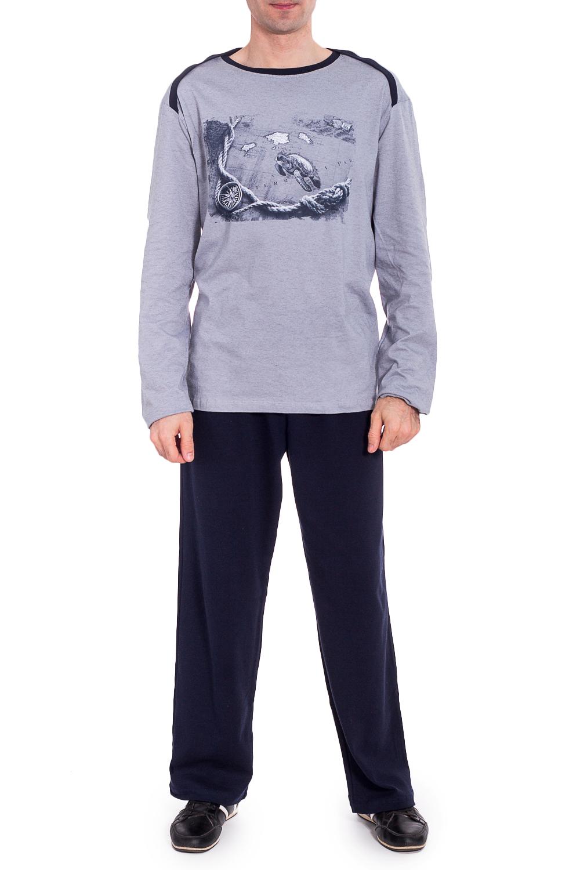 КомплектКомплекты и костюмы<br>Трикотажный комплект для мужчины (джемпер+брюки).  Ростовка изделия 182 см.   В изделии использованы цвета: серый, темно-синий.<br><br>По сезону: Осень,Весна<br>Размер : 54<br>Материал: Трикотаж<br>Количество в наличии: 1