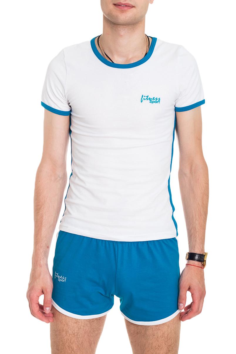 КомплектКостюмы<br>Хлопковый мужской комплект (футболка и шорты)  Цвет: белый, голубой  Рост мужчины-фотомодели 182 см<br><br>По сезону: Лето<br>Размер : 42<br>Материал: Хлопок<br>Количество в наличии: 1