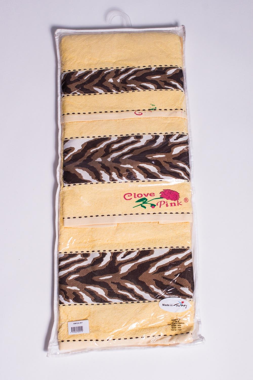 Комплект махровых полотенецКомплекты<br>Комплект махровых полотенец В комплект входят 3 полотенца размерами 30*50, 50*90 и 70*140 см.  Цвет: желтый, бежевый, коричневый<br><br>По материалу: Махровые,Хлопок<br>По рисунку: Цветные<br>По элементам: 3 предмета,С отделкой<br>Размер : UNI<br>Материал: Махровое полотно<br>Количество в наличии: 5