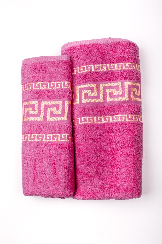 Комплект махровых полотенецПолотенца<br>Комплект махровых полотенец В комплект входят 2 полотенца размерами 50*90 и 70*140 см.  Цвет: розовый<br><br>Отделка края: Отделка строчкой<br>По материалу: Махровые,Бамбук,Хлопок<br>По рисунку: Однотонные<br>Размер : UNI<br>Материал: Бамбук<br>Количество в наличии: 2