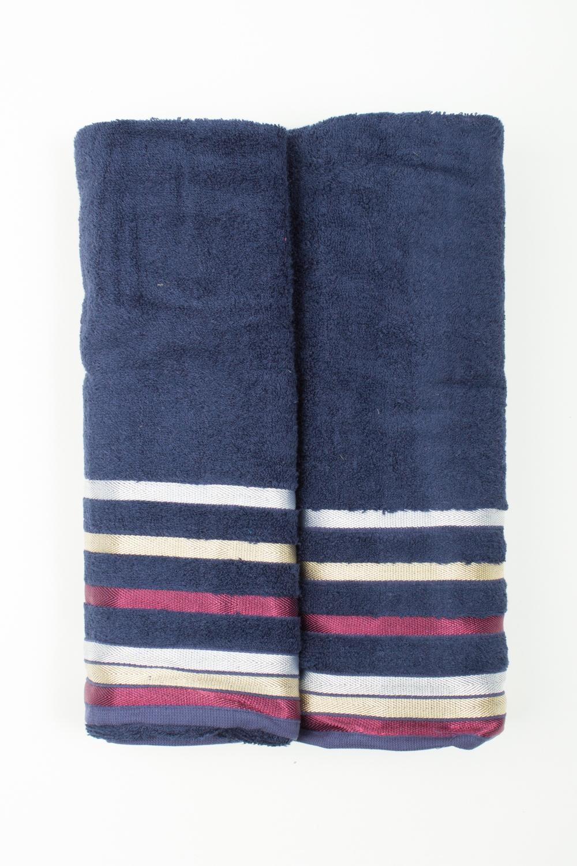 Комплект махровых полотенецПолотенца<br>Комплект махровых полотенец В комплект входят 2 полотенца размерами 50*90 и 70*140 см.  Цвет: синий, мультицвет<br><br>Отделка края: Отделка строчкой<br>По материалу: Махровые,Бамбук<br>По рисунку: Однотонные<br>Размер : UNI<br>Материал: Бамбук<br>Количество в наличии: 1