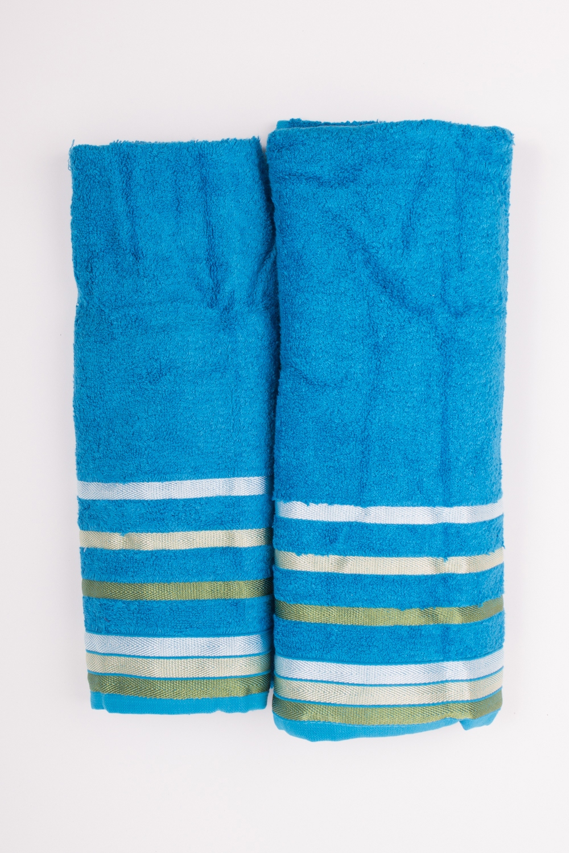 Комплект махровых полотенецПолотенца<br>Комплект махровых полотенец В комплект входят 2 полотенца размерами 50*90 и 70*140 см.  Цвет: голубой, мультицвет<br><br>Отделка края: Отделка строчкой<br>По материалу: Махровые,Бамбук<br>По рисунку: Однотонные<br>Размер : UNI<br>Материал: Бамбук<br>Количество в наличии: 1