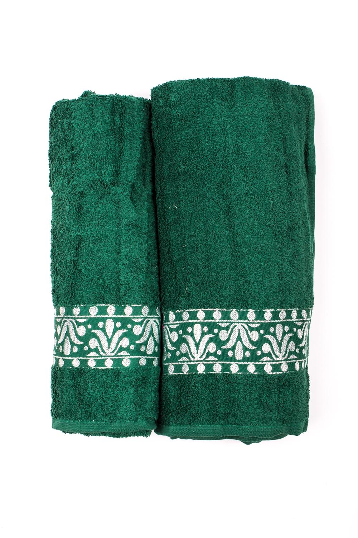 Комплект махровых полотенецПолотенца<br>Комплект махровых полотенец В комплект входят 2 полотенца размерами 50*90 и 70*140 см.  Цвет: зеленый<br><br>Отделка края: Отделка строчкой<br>По материалу: Махровые,Хлопковые<br>По назначению: Декоротивные,Практические<br>По рисунку: Однотонные<br>По элементам: С отделкой<br>Размер : UNI<br>Материал: Махровое полотно<br>Количество в наличии: 1