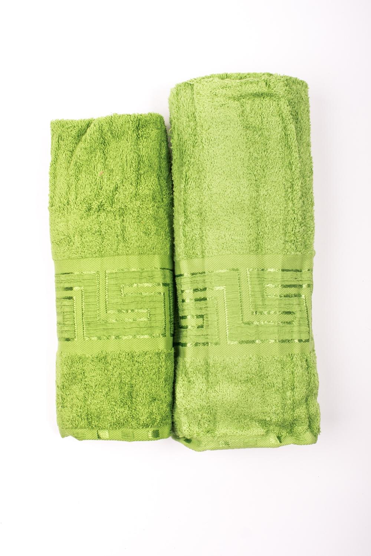 Комплект махровых полотенецПолотенца<br>Комплект махровых полотенец В комплект входят 2 полотенца размерами 50*90 и 70*140 см.  Цвет: салатовый<br><br>Отделка края: Отделка строчкой<br>По материалу: Махровые,Хлопок<br>По рисунку: Однотонные<br>Размер : UNI<br>Материал: Махровое полотно<br>Количество в наличии: 1